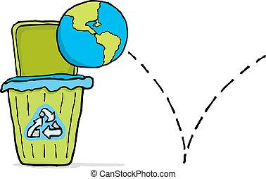 mondo, trashing, riciclaggio, /, terra