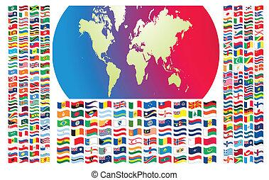 mondo, tutto, bandiere