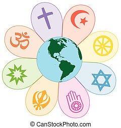 mondo, unito, pace, religioni, fiore