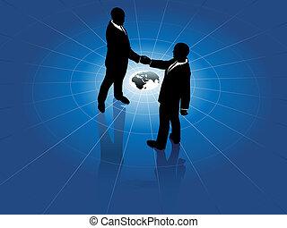 mondo, uomini, stretta di mano, affari, globale, accordo