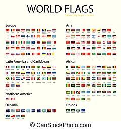 mondo, vettore, bandiere