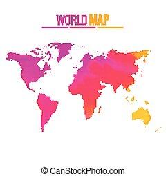 mondo, vettore, disegno, colorito, mappa