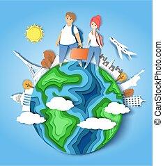 mondo, vettore, viaggiare, carta, illustrazione, intorno, taglio