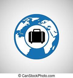 mondo, viaggiare, valigia, disegno