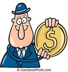 moneta, dollaro, uomo