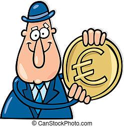 moneta, uomo, euro