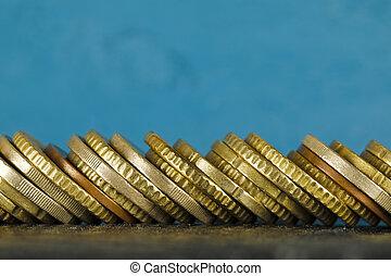 monete, accatastato, lato, euro