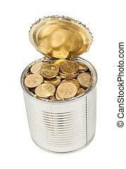 monete, isolato, lattina, fondo, russo, bianco