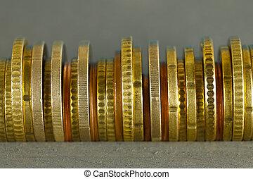 monete, organizzato, lato, euro