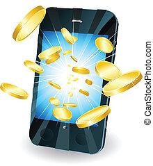 monete, oro, mobile, volare, telefono, far male, fuori