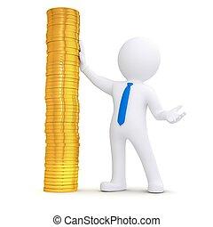 monete oro, prossimo, mucchio, bianco, uomo, 3d