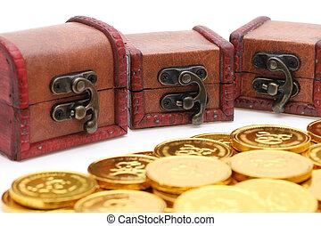 monete oro, torace, colorato, tesoro