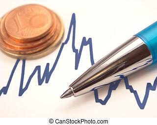 monete, penna, grafico, euro