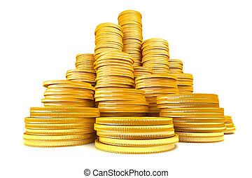 monete, pila, oro