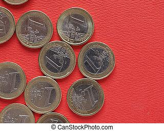 monete, unione, 1, comune, europeo, lato, euro