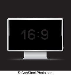 monitor, 16, sfondo nero, 9, bianco