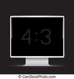 monitor, 3, nero, 4, fondo, bianco