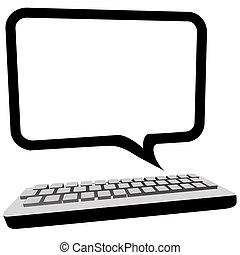 monitor, copyspace, comunicazione, computer, bolla discorso