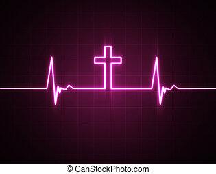 monitor cuore, croce