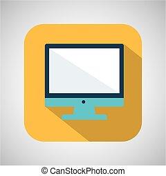 monitor, giallo, computer, fondo, uggia, cartone animato
