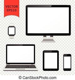 monitor, pc, tavoletta, mobile, orologio, isolato, laptop, telefono, computer, fondo, trasparente, far male
