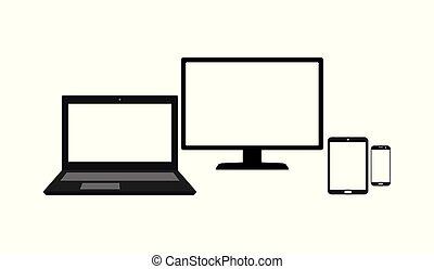 monitor, set, tavoletta, mobile, schermo, isolato, laptop, telefono, computer, fondo, vuoto, bianco