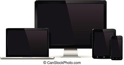 monitor, set, tavoletta, mockup, mobile, isolato, telefono, laptop, calcolatore pc, fondo., realistico, congegno, bianco, template.