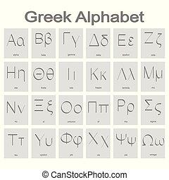 monocromatico, alfabeto, icone, greco, set
