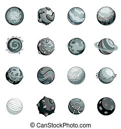 monocromatico, fantastico, set, pianeti, icone