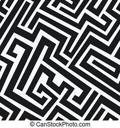 monocromatico, seamless, labirinto, modello