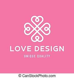 monogram, appartamento, stile, amore, forma, disegno, cuori