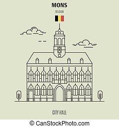 mons, punto di riferimento, belgium., municipio, icona