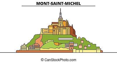 mont-santo-il michel, illustration., viaggiare, baia, vettore, punto di riferimento, design., linea, orizzonte, relativo, lineare