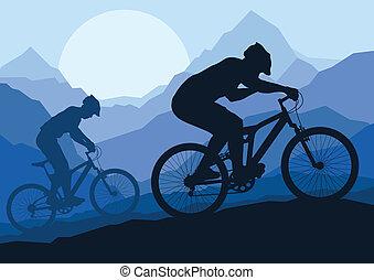 montagna, bicicletta, natura, bicicletta, selvatico, cavalieri