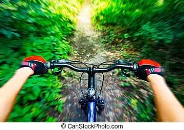 montagna, biker., giù, hill., biking, vista