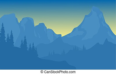 montagna blu, silhouette, fondo