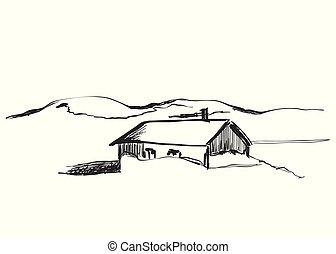 montagna, capanne, legno, illustrazione, vettore, paesaggio