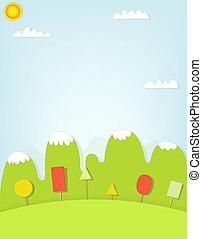 montagna, cartone animato, paesaggio