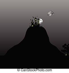 montagna, castello, halloween, giorno, illustrazione