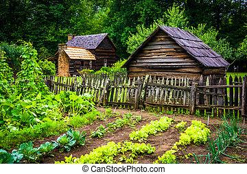 montagna, costruzioni, giardino, fattoria, museo, th, verdura