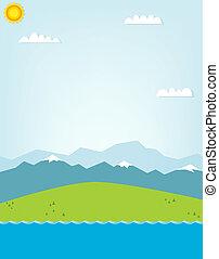 montagna, disinserimento, illustrazione, paesaggio.