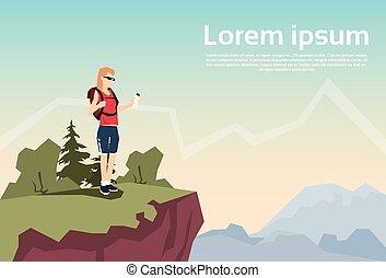 montagna, donna, natura, zaino, escursionista, collina, fondo, viaggiatore, stare in piedi