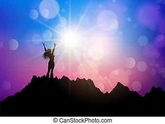 montagna, elevato, gioia, braccia, femmina, paesaggio
