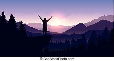 montagna, elevato, leva piedi, cima, braccia, paesaggio, uomo, felice, alba, scogliera
