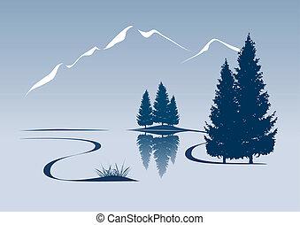 montagna, esposizione, illustrazione, stilizzato, paesaggio fiume