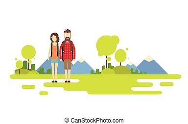 montagna, esterno, andando gita, spazio, coppia, fondo, donna, viaggiatore, copia, bandiera, sopra, uomo