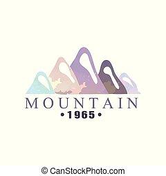 montagna, esterno, regione selvaggia, andando gita, 1965, avventure, illustrazione, emblema, vettore, turismo, distintivo, logotipo, retro