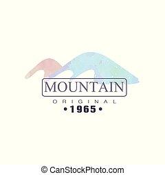 montagna, esterno, regione selvaggia, andando gita, 1965, avventure, illustrazione, emblema, vettore, turismo, distintivo, originale, logotipo, retro