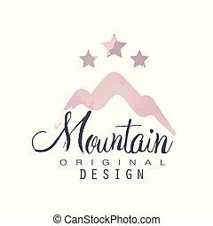montagna, esterno, regione selvaggia, andando gita, avventure, illustrazione, emblema, stelle, vettore, disegno, turismo, sagoma, logotipo, distintivo, originale, retro