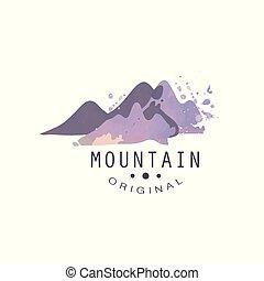 montagna, esterno, regione selvaggia, andando gita, avventure, illustrazione, emblema, vettore, turismo, distintivo, originale, logotipo, retro